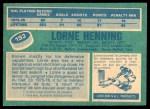 1976 O-Pee-Chee NHL #193  Lorne Henning  Back Thumbnail