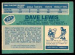 1976 O-Pee-Chee NHL #221  Dave Lewis  Back Thumbnail