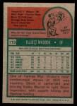 1975 Topps Mini #113  Elliott Maddox  Back Thumbnail