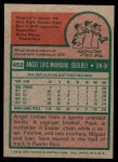 1975 Topps Mini #452  Angel Mangual  Back Thumbnail