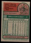 1975 Topps Mini #315  Don Kessinger  Back Thumbnail