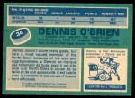 1976 O-Pee-Chee NHL #34  Dennis O'Brien  Back Thumbnail
