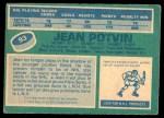 1976 O-Pee-Chee NHL #93  Jean Potvin  Back Thumbnail