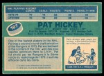 1976 O-Pee-Chee NHL #107  Pat Hickey  Back Thumbnail