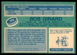 1976 O-Pee-Chee NHL #362  Bob Girard  Back Thumbnail
