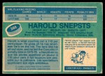 1976 O-Pee-Chee NHL #366  Harold Snepsts  Back Thumbnail