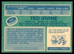1976 O-Pee-Chee NHL #347  Ted Irvine  Back Thumbnail