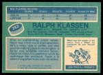 1976 O-Pee-Chee NHL #282  Ralph Klassen  Back Thumbnail