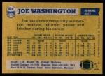1982 Topps #524  Joe Washington  Back Thumbnail