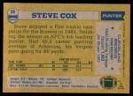 1982 Topps #59  Steve Cox  Back Thumbnail