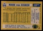 1982 Topps #199  Mark Van Eeghen  Back Thumbnail