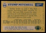 1982 Topps #472  Stump Mitchell  Back Thumbnail