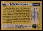 1982 Topps #61  Tom DeLeone  Back Thumbnail