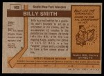 1973 Topps #162  Billy Smith   Back Thumbnail