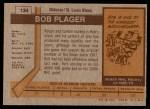 1973 Topps #134  Bob Plager  Back Thumbnail