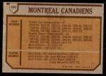 1973 Topps #100   Canadiens Team Back Thumbnail