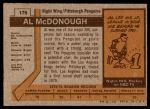 1973 Topps #176  Al McDonough   Back Thumbnail