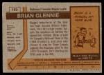 1973 Topps #163  Brian Glennie   Back Thumbnail