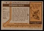 1973 Topps #60  Dennis Hull   Back Thumbnail