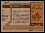 1973 Topps #164  Pit Martin   Back Thumbnail