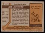 1973 Topps #171  Jim Lorentz   Back Thumbnail