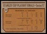 1973 Topps #197   Canadiens 4 Black Hawks 2  Back Thumbnail