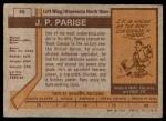 1973 Topps #46  Jean Parise   Back Thumbnail