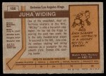 1973 Topps #156  Juha Widing   Back Thumbnail