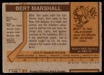 1973 Topps #51  Bert Marshall   Back Thumbnail