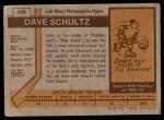 1973 Topps #149  Dave Schultz   Back Thumbnail