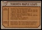 1973 Topps #106   Toronto Maple Leafs Team Back Thumbnail