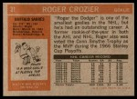 1972 Topps #31  Roger Crozier  Back Thumbnail