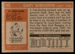 1972 Topps #163  Gary Sabourin  Back Thumbnail