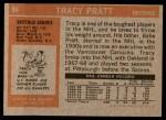 1972 Topps #84  Tracy Pratt  Back Thumbnail