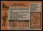 1975 Topps #74  Tom Bladon   Back Thumbnail