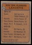 1974 Topps #233   -  Bill Harris / Ralph Stewart / Denis Potvin Islanders Leaders Back Thumbnail