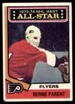 1974 Topps #138   -  Bernie Parent All-Star Front Thumbnail
