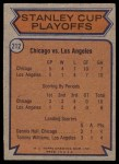 1974 Topps #212   Quarter Finals - Blackhawks vs. Kings Back Thumbnail