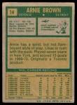 1971 Topps #14  Arnie Brown  Back Thumbnail