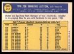 1970 Topps #242  Walter Alston  Back Thumbnail