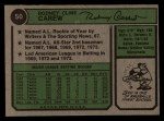 1974 Topps #50  Rod Carew  Back Thumbnail