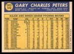 1970 Topps #540  Gary Peters  Back Thumbnail