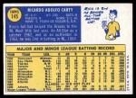 1970 Topps #145  Rico Carty  Back Thumbnail