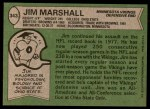 1978 Topps #343  Jim Marshall  Back Thumbnail