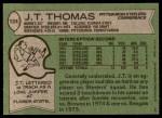 1978 Topps #124  J.T. Thomas  Back Thumbnail