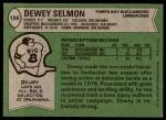 1978 Topps #106  Dewey Selmon  Back Thumbnail