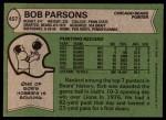 1978 Topps #457  Bob Parsons  Back Thumbnail
