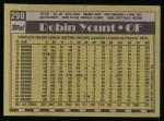 1990 Topps #290  Robin Yount  Back Thumbnail