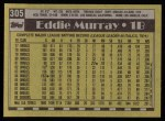 1990 Topps #305  Eddie Murray  Back Thumbnail