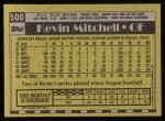 1990 Topps #500  Kevin Mitchell  Back Thumbnail